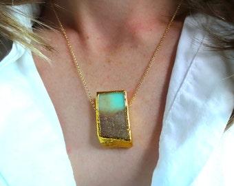 Handmade 22k Gold Edged Australian Chrysoprase & 14k Gold Chain Pendant Necklace; Aqua Colored Stone; Natural Statement Pendant Necklace