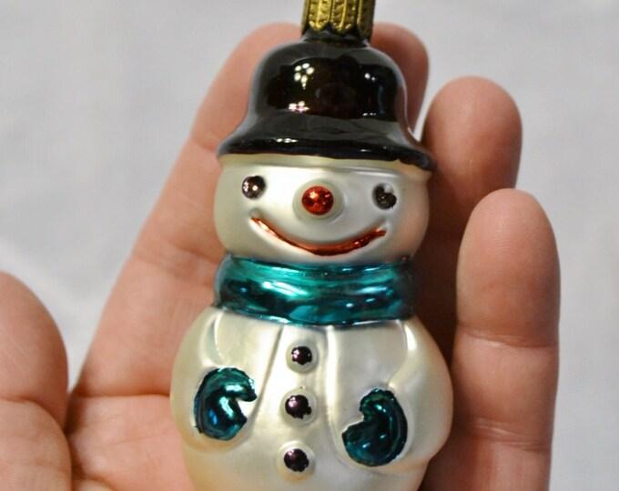 Vintage Glass Snowman Ornament Christmas Tree Holiday Decoration PanchosPorch