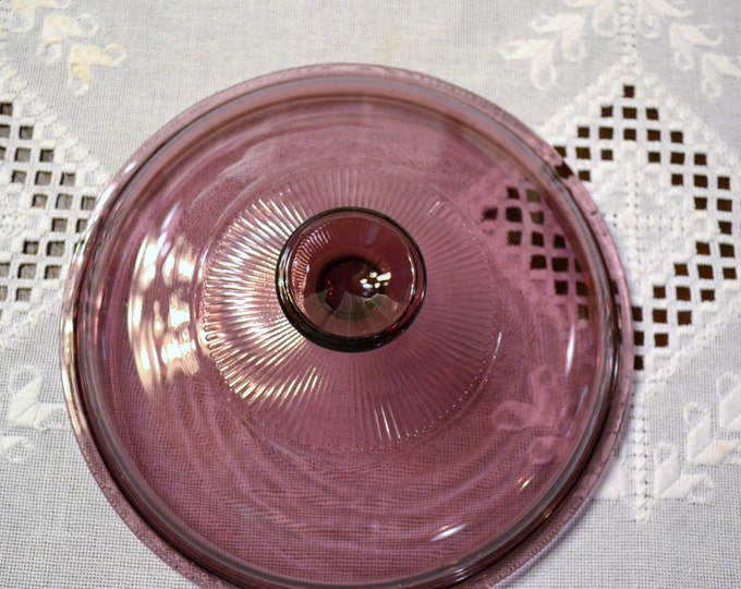 Vintage Pyrex Visions Cranberry Lid V2 5C A Replacement Pink Purple PanchosPorch