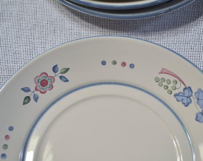 Vintage International China Bread Dessert Plate Set of 6 Blue Pink Floral Design Japan PanchosPorch