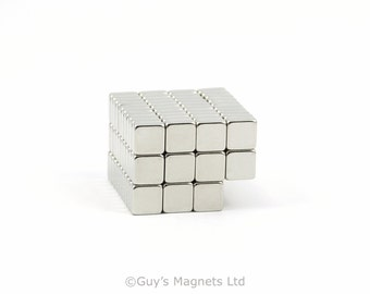 7mm x 7mm x 3mm strong neodymium block magnets ideal for making homemade fridge magnets and magnetising wargame figures GuysMagnets