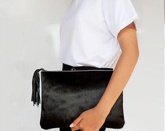 Black Calf Hair Clutch / Oversized Pony Hair Pouch / Black Cowhide Clutch / Black Oversized Purse / Cowhide Handbag / Hair on Hide Bag
