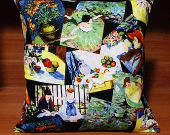 Monet art on black cushion/ pillow cover, made in Australia - 40 cm