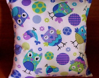 Owls cushion/ pillow cover, purple, mauve, blue on white - made in Australia - 40 cm