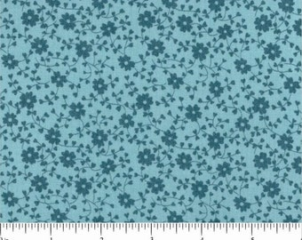 """27"""" remnant Denyse Schmidt fabric Chicopee Bleeding Heart DS37 aqua blue green floral flowers Freespirit sewing/quilting crafts 100% cotton"""