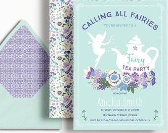 Fairy Tea Party Invitation Fairies Girls Birthday Floral Flowers Mint Purple Aqua Lilac GardenTea Pot Folk Printable 1st 2nd 3rd 4th 5th