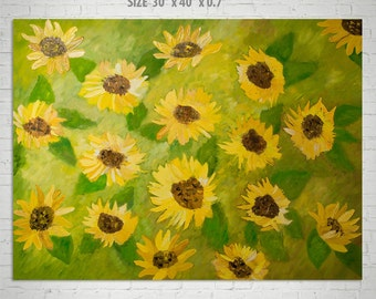 LARGE Sunflower Oil Painting, Original Abstract Impressionist Sunflowers Painting, Floral Art, Large Yellow Oilve Green Abstract Wall Art