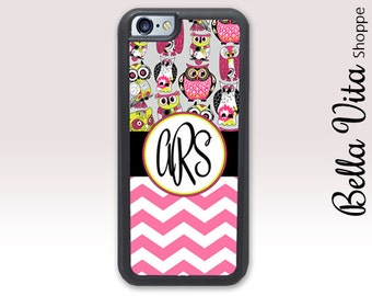 Pink Owls Chevrons iPhone 5C Case, Monogrammed iPhone 5C Case, Personalized iPhone 5C Case 1138