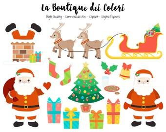 Santa sleigh clipart | Etsy