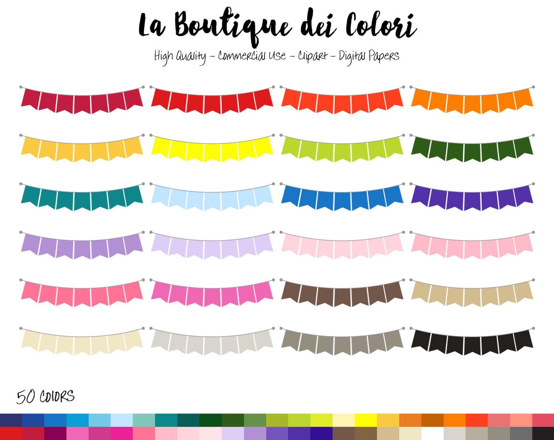 50 Rainbow Solid color Bunting Banner Clip art Digital