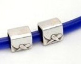 Regaliz Metals Tube Antique Silver 2pcs