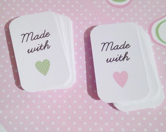 15 Made with, label tag made with love, paper tag, party favor tags