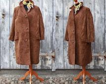 Vintage ladies coat suede coat leather 60s mid brown beat era