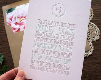 Letterpress Wedding Invitation - Portland