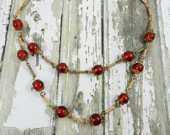 Beautiful Antique Beaded Statement Necklace Brick Red Glass Beads Gold Tone Bead Caps