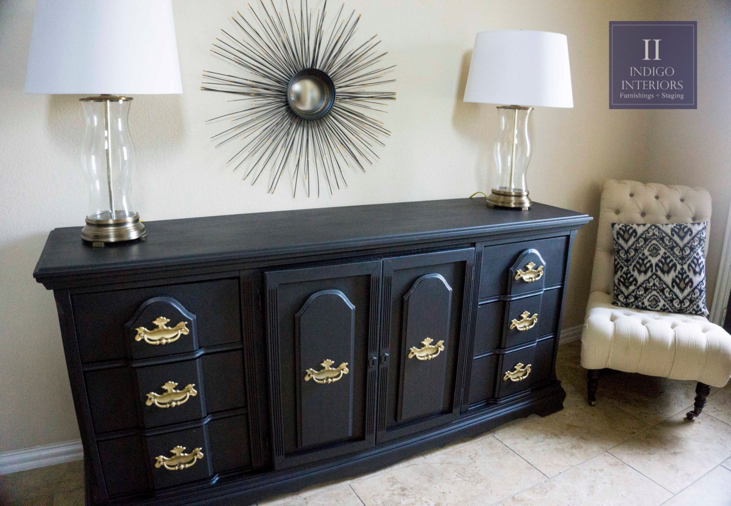 Black And Gold Dresser Buffet Changing Table Tv Stand Or Entry