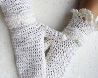 white bridal winter gloves wedding gloves women mittens white crochet merino wool mittens winter mittens women mittens women gloves
