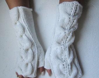 BLACK FRIDAY SALE! Ready to ship! white  fingerless gloves, knitting Fingerless long Half Gloves  women fingerless, wool acrylic  gloves