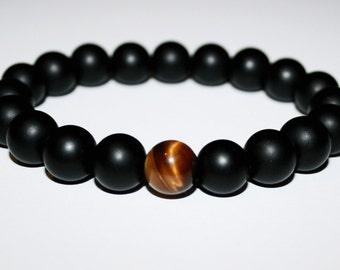 Black onyx tiger eye stretch bracelet