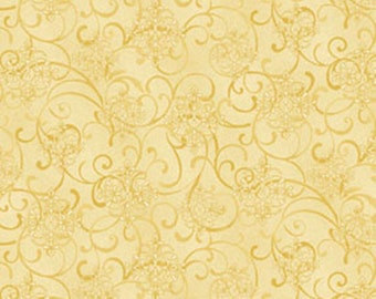 One Yard He Still Loves Me - Mini Scroll in Yellow - Cotton Quilt Fabric - by Jackie Robinson for Benartex Fabrics 3276-33 (W2908)