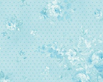 """22"""" REMNANT Christine - Morning Dew in Robin's Egg Blue - Cotton Quilt Fabric - Eleanor Burns for Benartex Fabrics - 711-55 (W2931) Zoey"""