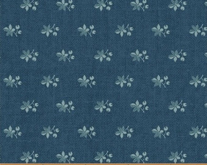 Half Yard Chambray Rose - Spaced Leaf in Blue - Floral Leaves Cotton Quilt Fabric - Nancy Gere for Windham Fabrics - 40831-1 (W3441)