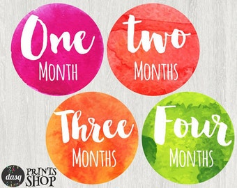 PRINTED - Watercolor - Colorfull - Rainbow - Baby Month Stickers, Baby girl Month Stickers, Monthly Baby Stickers - baby age stickers