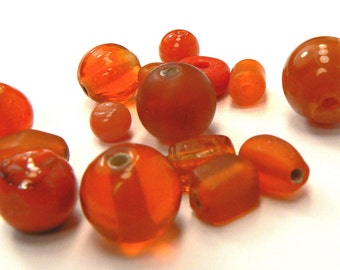 Orange Glass Bead Mix, 15 Loose Orange Glass Beads, Beads For Jewelry Making, Orange Bead Mix, Destash Bead Supplies (G150)
