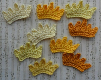 U pick colors - Set of 9 Small Crochet Crowns - 2' x 1.2' or 5 x 3 cm - 89 Colors Available