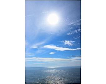 Minimalist Art, Large Ocean Art, Seascape Photography, Vertical Art, Sea Artwork, Ocean Artwork, Large Wall Art, Sun, Blue Sky, Happy Art