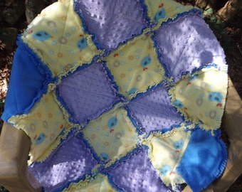 Handmade Blue Bird Patchwork Rag Quilt in Fleece and Minky - Crib Quilt - Blue, Yellow, Lavender