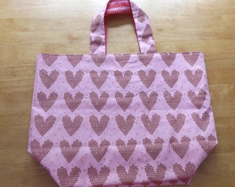 Tote, Market or Shopping Bag, Large Lined Reusable and Reversible - Pink and Red Hearts and Stripes