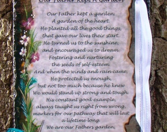 Our Father Kept A Garden Verse for Dad Personalized Unique Memorial Keepsake for Remembering a Loved One Funeral Loving Gift Remembrance
