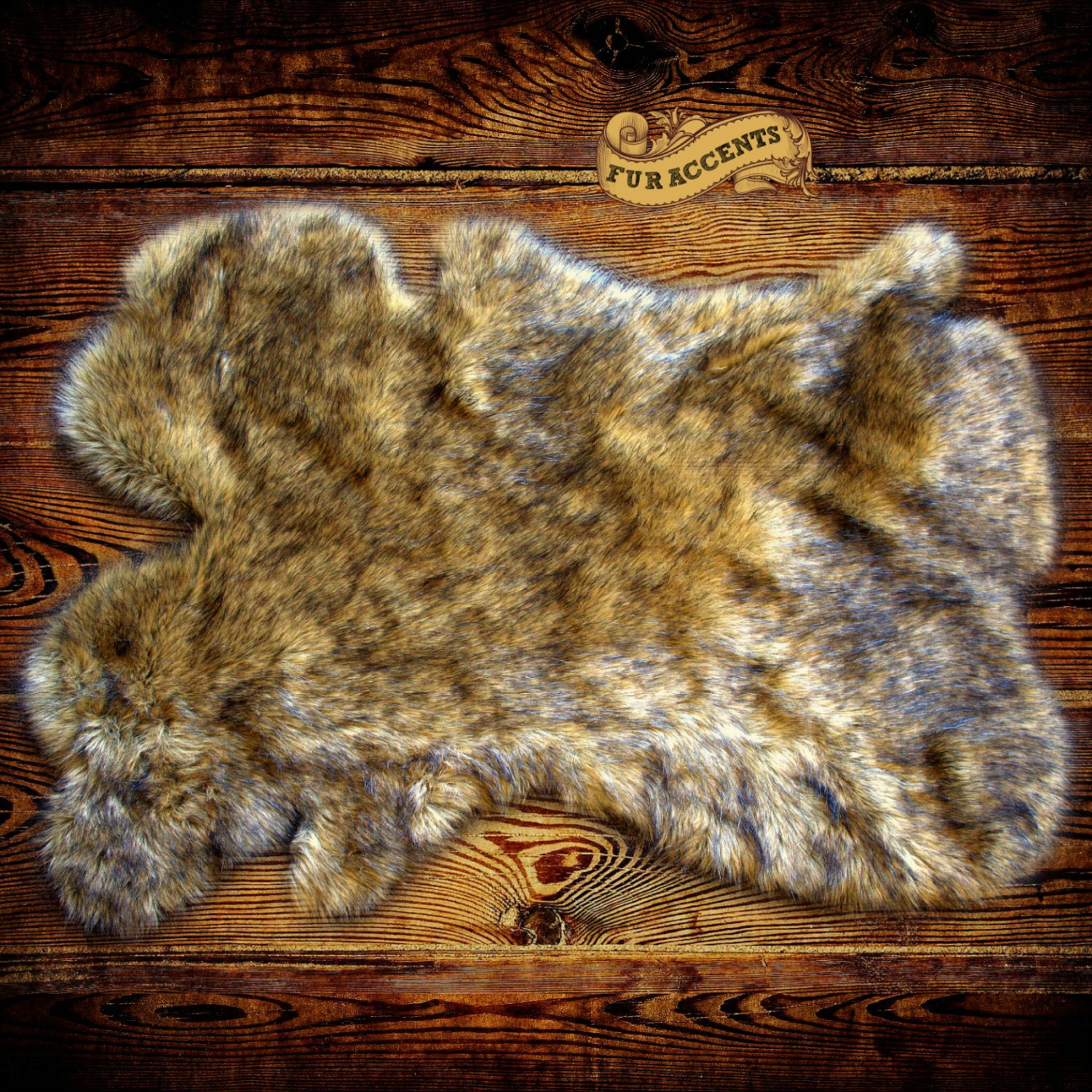 NEW / Shaggy Faux Fur Wolf Pelt Skin Hide Area Carpet