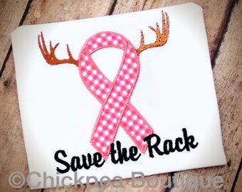 Instant Download: Save the Rack Embroidery Design, Breast Cancer Awareness Fill and Applique