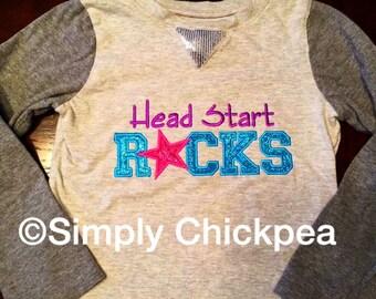 Intant Download: Head Start Rocks Embroidery Design Appliqué