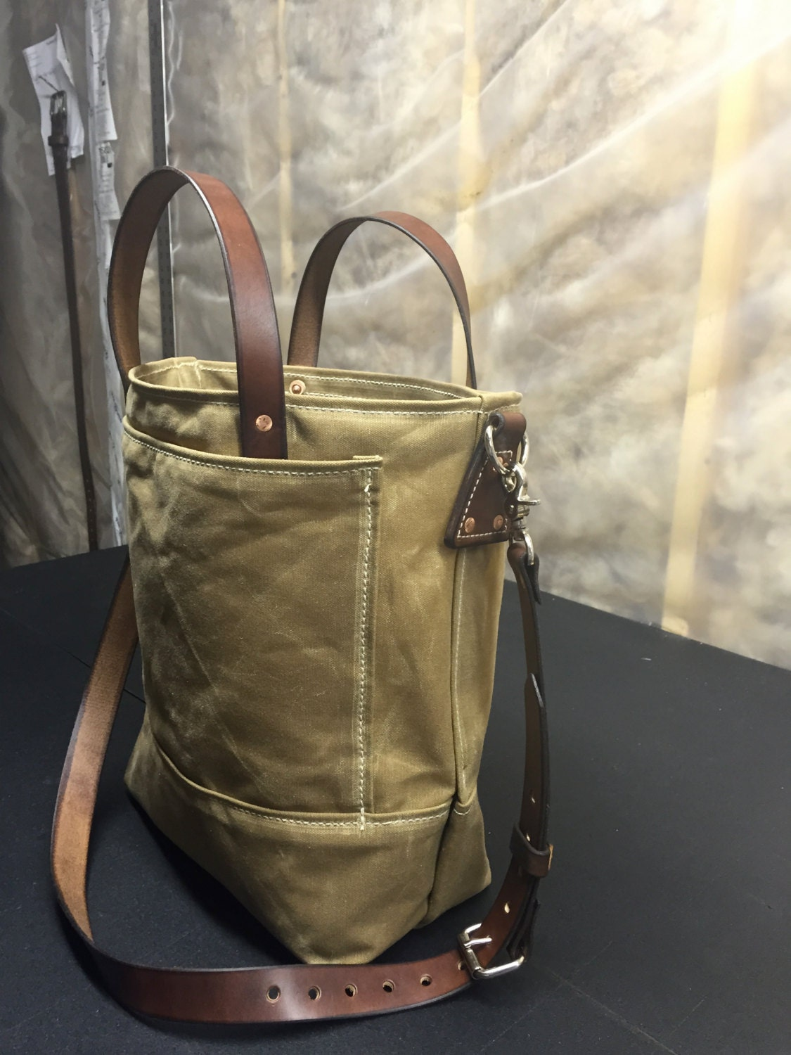 Handmade Waxed Canvas Tote Bag Waxed Canvas Bags Carry