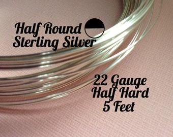 15% Off Sale! Sterling Silver Wire, HALF ROUND 22 Gauge, Half Hard, 5 Feet, WHOLESALE