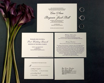 Letterpress Wedding Invitation Suite with RSVP set & Info Card | Traditional Wedding Invitation Suite | Classic Wedding Invitation Suite