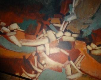 "Original vintage signed painting, C. Lander, overall 28"" x 22"""
