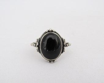 Vintage Tribal Sterling Silver Black Onyx Ring Size 8.75
