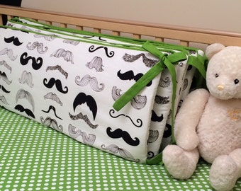Moustache Bumper Pad -Baby Boy Crib Bedding