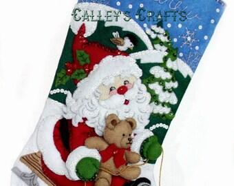 "Bucilla ~ Santa's Sled ~ 18"" Christmas Stocking Kit #86279 DIY"