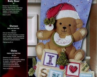"Bucilla Baby Bear ~ 18"" Felt Christmas Stocking Kit #85432 Santa, I Love Snow DIY"