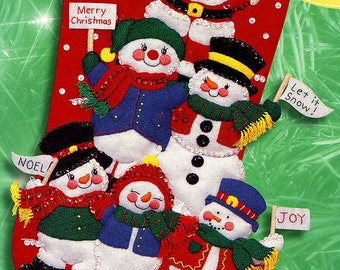 "Bucilla Cheerful Snowmen and Santa ~ 18"" Felt Christmas Stocking Kit #84258 DIY"