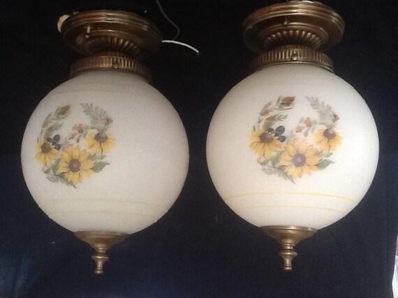 Vintage Pair Of Victorian Ceiling Light Fixtures Large Flower