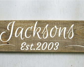 Family Est. Sign Rustic Wood Sign  Established Sign  Wood Family Name Sign Mother's Day Gift