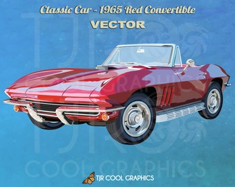 Classic Car 1965 Red Convertable, Vector, Digital, Realistic Clip Art, Commercial, EPS, Printable, Vehicle, Engine