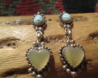 Turquoise, Mother of Pearl and Sterling Dangle Earrings