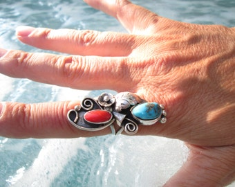 Native American Turquoise, Coral and Sterling Ring Size 8